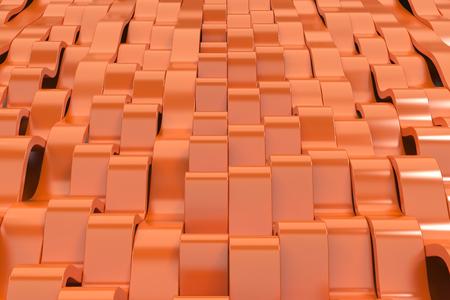 Abstrakte Wiedergabe 3D von orange Sinuswellen. Gebogener Streifenhintergrund. Reflektierendes Oberflächenmuster. 3d render illustration Standard-Bild - 93631240