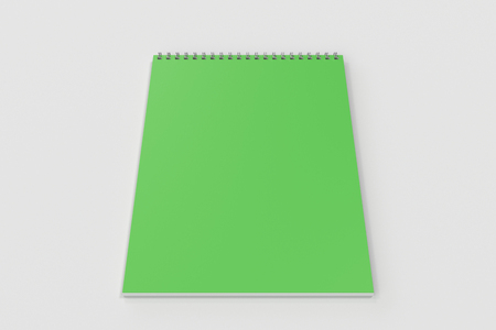 Blank green notebook with metal spiral bound on white background. Business or education mockup. 3D rendering illustration
