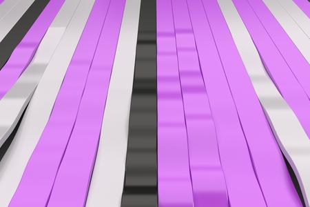 Abstracte 3D-weergave van zwarte, witte en violette sinusgolven. Gebogen strepen achtergrond. Reflecterend oppervlaktepatroon. 3D render illustratie