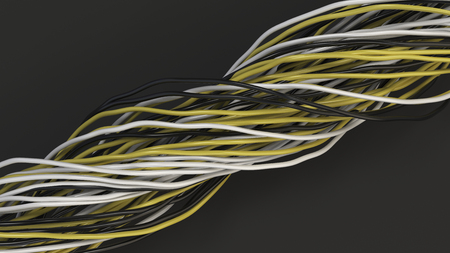 Twisted black, white and yellow cables and wires on black surface. Computer or telephone network. 3D rendering illustration