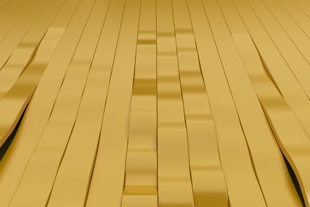 Het abstracte 3D teruggeven van gele sinusgolven. Gebogen strepen achtergrond. Reflecterend oppervlaktepatroon. 3D render illustratie