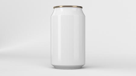 빈 작은 흰색과 금색 알루미늄 소 다 흰색 배경에 mockup 수 있습니다. 맥주 또는 음료의 주석 패키지입니다. 3D 렌더링 그림