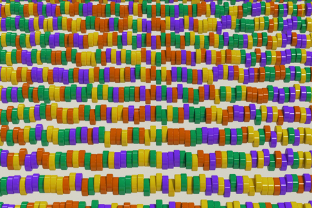 Pattern of yellow, violet and green cylinder tablets on white background. Plastic pucks. Abstract background. 3D rendering illustration.