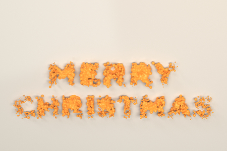 Liquid Orange Merry Christmas Words With Drops On White Background ...