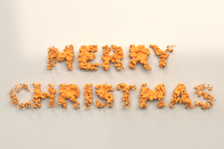illustration liquid orange merry christmas words with drops on white background christmas sign 3d rendering illustration - Merry Christmas Words