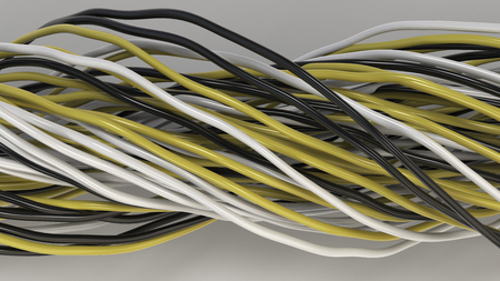 Twisted black, white and yellow cables and wires on white surface. Computer or telephone network. 3D rendering illustration