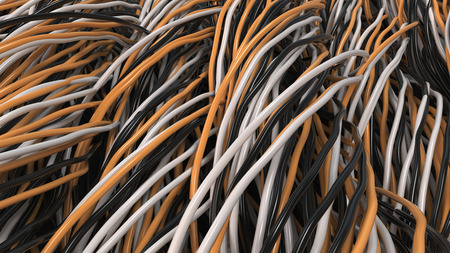 Twisted black, white and orange cables and wires on black surface. Computer or telephone network. 3D rendering illustration
