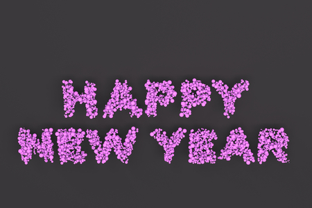 Happy New Year words from violet balls on black background. New Year sign. 3D rendering illustration