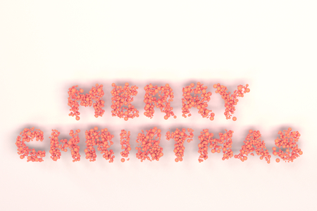 Merry Christmas words from red balls on white background. Christmas sign. 3D rendering illustration Stock Photo
