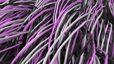 Twisted black, white and purple cables and wires on black surface. Computer or telephone network. 3D rendering illustration Stock Photo
