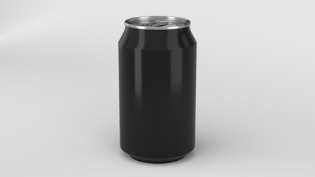 Blank small black aluminium soda can mockup on white background. Tin package of beer or drink. 3D rendering illustration Stockfoto