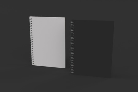 Two blank notebooks with black and white covers and metal spiral bound on black background. Business or education mockup. 3D rendering illustration Archivio Fotografico