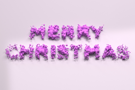 Liquid violet Merry Christmas words with drops on white background. Christmas sign. 3D rendering illustration