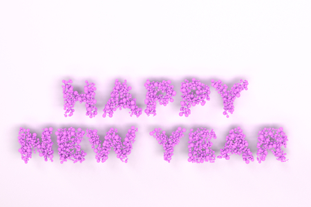 Happy New Year words from violet balls on white background. New Year sign. 3D rendering illustration