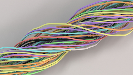 Twisted multicolored cables and wires on white surface. Computer or telephone network. 3D rendering illustration