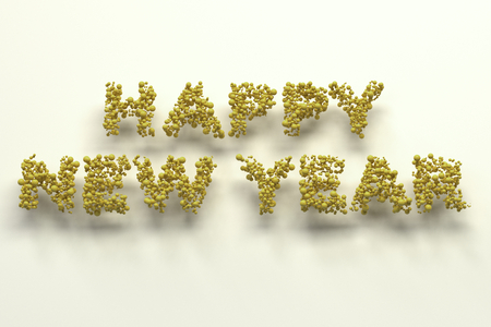 Happy New Year words from yellow balls on white background. New Year sign. 3D rendering illustration Stock Photo
