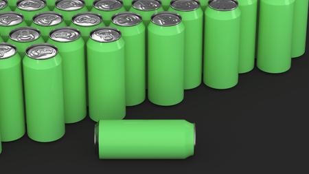 Big green soda cans on black background. Beverage mockup. Tin package of beer or drink. 3D rendering illustration Stock Photo