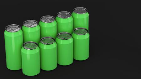Big and small green soda cans standing in two raws on black background. Beverage mockup. Tin package of beer or drink. 3D rendering illustration Stock Photo