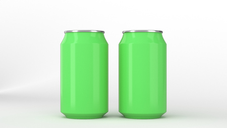 Two small green aluminum soda cans mockup on white background. Tin package of beer or drink. 3D rendering illustration