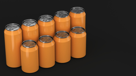 Big and small orange soda cans standing in two raws on black background. Beverage mockup. Tin package of beer or drink. 3D rendering illustration