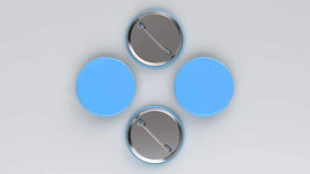 Blank blue badge on white background. Pin button mockup. 3D rendering illustration
