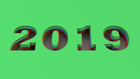 2019 number cut in colorful paper. 2019 new year sign. 3D rendering illustration