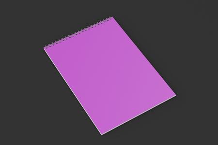 Blank violet notebook with metal spiral bound on black background. Business or education mockup. 3D rendering illustration