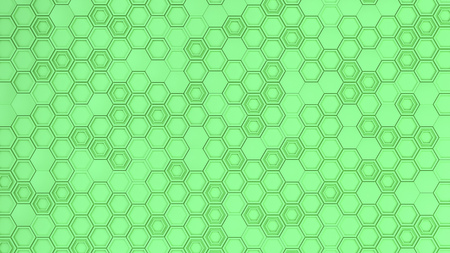 Abstract 3d background made of green hexagons. Wall of hexagons. Honeycomb pattern. 3D render illustration