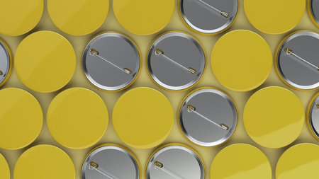 Blank yellow badges on yellow background. Pin button mockup. 3D rendering illustration
