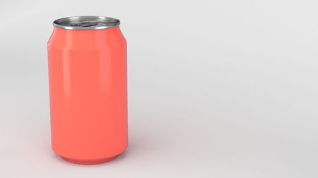 Blank small red aluminium soda can mockup on white background. Tin package of beer or drink. 3D rendering illustration