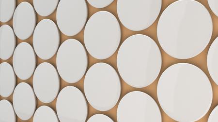 Blank white badge on orange background. Pin button mockup. 3D rendering illustration