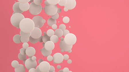 White discs of random size on red background. Abstract background with circles. Cloud of circles in front of wall. 3D rendering illustration