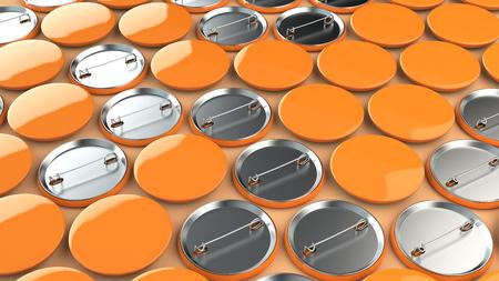 Blank orange badges on orange background. Pin button mockup. 3D rendering illustration
