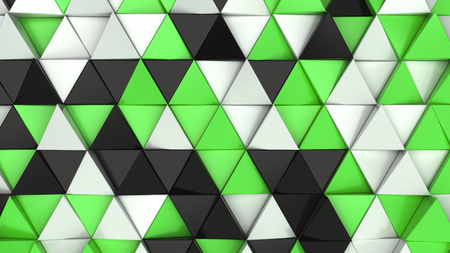 Pattern of black, white and green triangle prisms. Wall of prisms. Abstract 3d background. 3D rendering illustration. Stock Photo