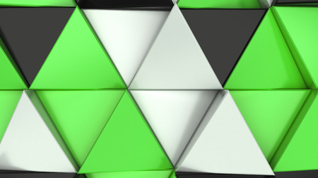 Pattern of black, white and green triangle prisms. Wall of prisms. Abstract 3d background. 3D rendering illustration. Stockfoto
