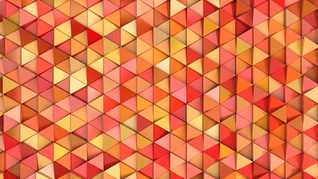 Pattern of orange triangle prisms. Wall of prisms. Abstract 3d background. 3D rendering illustration.