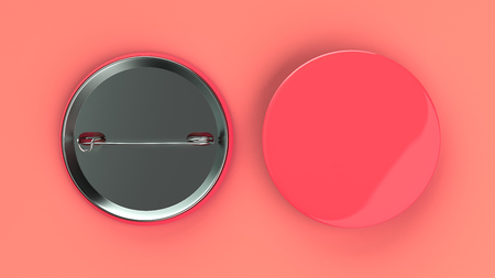 Blank red badge on red background. Pin button mockup. 3D rendering illustration