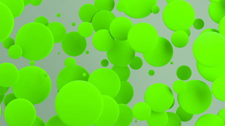 Green discs of random size on white background. Abstract background with circles. Cloud of circles in front of wall. 3D rendering illustration Stock fotó
