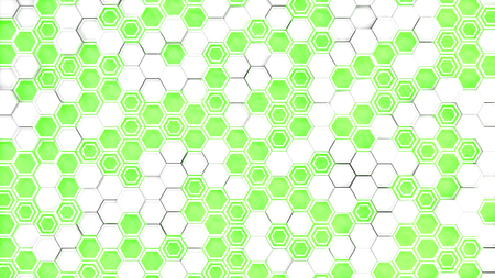 Abstract 3d background made of white hexagons on green glowing background. Wall of hexagons. Honeycomb pattern. 3D render illustration