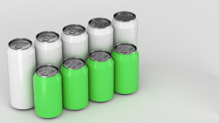 Big and small white and green soda cans standing in two raws on white background. Beverage mockup. Tin package of beer or drink. 3D rendering illustration
