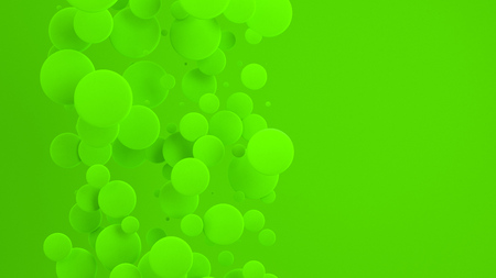 Green discs of random size on green background. Abstract background with circles. Cloud of circles in front of wall. 3D rendering illustration