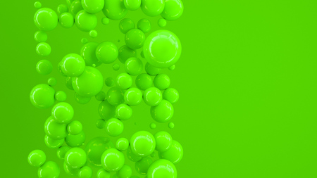 Green spheres of random size on green background. Abstract background with circles. Cloud of circles in front of wall. 3D rendering illustration