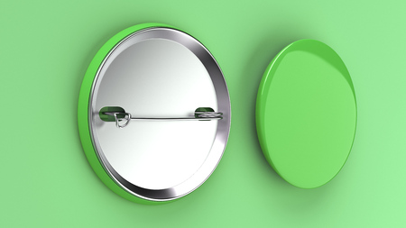 Blank green badge on a green background. Pin button mockup. Banque d'images