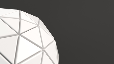 Abstract background with white sphere on the black surface. 3D render illustration 版權商用圖片