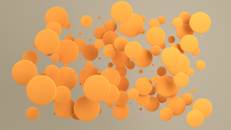 Orange discs of random size on white background. Abstract background with circles. Cloud of circles in front of wall. 3D rendering illustration Stock fotó