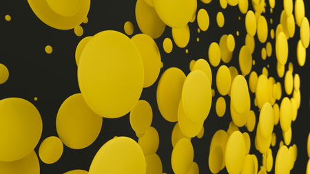 Yellow discs of random size on black background. Abstract background with circles. Cloud of circles in front of wall. 3D rendering illustration