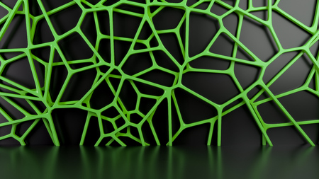 Abstract green 3d grate on black background. Speaker grille. Chaotic line structure. 3D render illustration Stock Photo