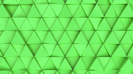Pattern of green triangle prisms. Wall of prisms. Abstract 3d background. 3D rendering illustration.