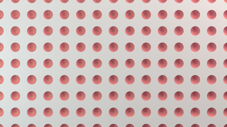 White surface with pattern of red hemisphere indents. Abstract 3d background. 3D rendering illustration.