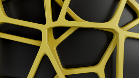 Abstract yellow 3d grate on black background. Speaker grille. Chaotic line structure. 3D render illustration Zdjęcie Seryjne